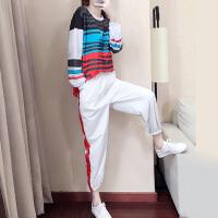 运动套装女秋冬2019新款时尚网红运动服女神气质休闲卫衣两件套潮 白色