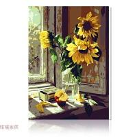 数字油画手绘花卉油画客厅情侣装饰画 40*50绷好内框1.6厚