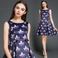 女装欧洲站春装新款 欧美印花修身无袖连衣裙打底裙
