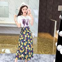 夏装新款时尚洋气印花t恤+高腰系带花朵半身裙长裙套装女