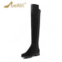 【冬季清仓】阿么牛皮韩版高筒粗跟过膝骑士靴中跟女长靴子显瘦牛皮弹力靴