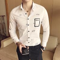 春装新款韩版修身潮流印花衬衫男长袖发型师休闲衬衣夜店潮