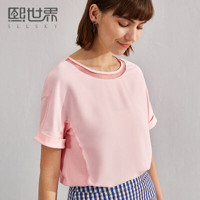 熙世界2018夏装新款纯色圆领短袖雪纺衫女直筒套头上衣女112SS010