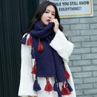 围巾女冬天韩版潮披肩加厚百搭名族风流苏学生围脖围巾两用