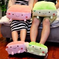 冬季暖手抱枕可插手毛绒玩具女生可爱娃娃豆腐睡觉午睡枕暖手捂枕