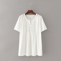 特大码女装200-300斤胖MM纯色V领镂空打底衫宽松百搭短袖T恤
