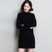 加绒加厚半高领秋冬女装羊绒针织打底衫羊毛衫宽松套头毛衣中长款