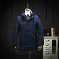 新款冬装简欧风商务休闲可脱卸内胆羽绒外套帅气中长款羽绒服