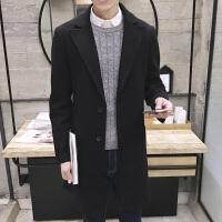新款2018冬装大衣男中长款风衣呢子英伦外套男韩版青少年学生男潮