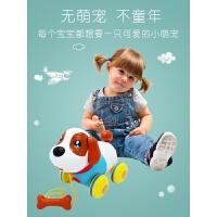 宝宝拖拉学步玩具狗狗婴儿0-1-23岁拖拉车儿童拉绳音乐电动机器狗 普通电池版