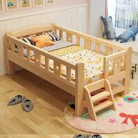 单人床婴儿床加宽床拼接床 实木儿童床带护栏小孩床男孩女孩公主床