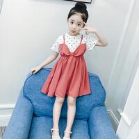 女童连衣裙夏短袖新款儿童夏装波点拼接公主裙小女孩裙子