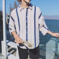 2018港风日系原宿夏季新款竖条纹情侣七分短袖衬衫男潮流韩版
