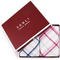 三利 纯棉纱布格纹系列毛巾 34×75cm AB版正反两用洗脸面巾 礼盒2条装