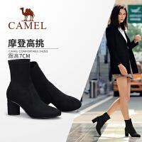 骆驼女鞋2019冬季新款粗跟女靴高跟韩版百搭短筒靴网红靴子女短靴