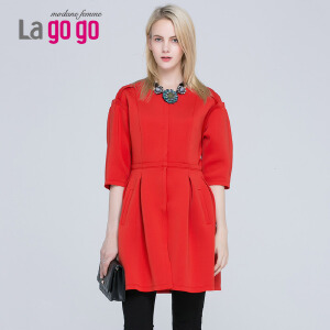 Lagogo/拉谷谷新款纯色修身圆领中袖风衣
