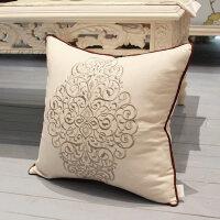 靠垫女王 现代中式棉麻绣花抱枕 沙发靠背垫床头靠枕靠包腰枕含芯