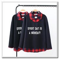 大码女装 17秋冬新款方格领子字母印花宽松假两件长袖T恤打底衫
