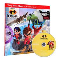 Incredibles 2 超人总动员2故事书+CD【英文原版 绘本有声读物 皮克斯】