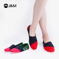 jm快乐玛丽2019春季拼色平底套脚时尚休闲鞋帆布鞋一脚蹬女鞋