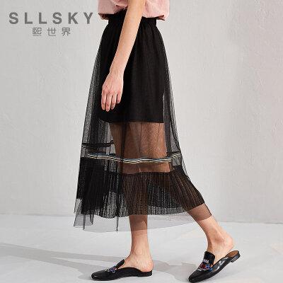 熙世界半身裙夏装新款雪纺网纱A字裙女112LQ016