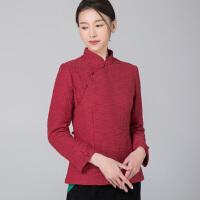 中式改良夹棉旗袍上衣短款盘扣民族风修身复古棉衣棉麻唐装棉袄女