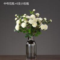 现代简约美式插花花瓶创意家居餐厅电视柜水培花器样板间软装配饰 +6支小玫瑰花