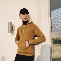 地平线男装 冬复合加绒时尚潮保暖套头毛衣 修身纯色连帽打底衫
