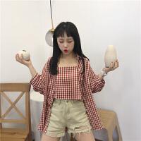 韩版时尚休闲套装夏装女装中长款格子衬衫上衣小吊带裹胸两件套 均码