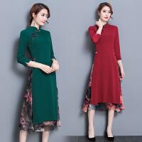 假两件连衣裙2018春装新款民族风女装中长款七分袖立领改良裙子