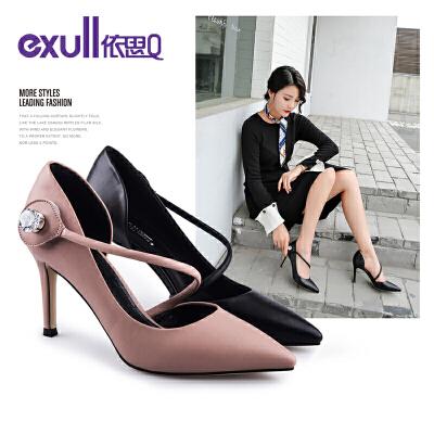 依思q新款尖头侧空鞋百搭时尚高跟细跟女鞋