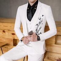 春装款男士潮流发型师绣花西服裤子套装韩版修身青年休闲两件套