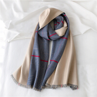 秋冬季双面围巾女复古英伦格子保暖披肩百搭学生围脖