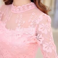 春秋装新款蕾丝衫女士修身蕾丝上衣女装长袖T恤韩版打底衫潮 白色 加厚羊胎绒 5X