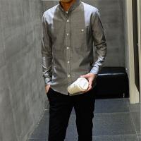 男装休闲纯色衬衣男秋冬长袖衬衫男士青年韩版修身大码打底衫
