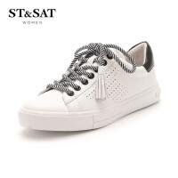 星期六(ST&SAT) 2019年春季专柜同款牛皮革条纹系带休闲百搭小白鞋SS91112072