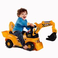 儿童电动滑行挖掘机男孩玩具车挖土机可坐可骑大号学步钩机工程车 大号滑行 带音乐帽子爪子后兜 送铲子电池螺丝刀海洋球