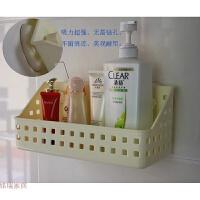 强力吸盘浴室置物架吸壁式卫生间厨房塑料收纳架筐免打孔壁挂篮大 浅黄色 大号