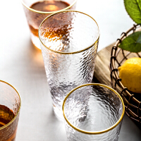 金边锤目纹玻璃杯水杯家用耐热喝茶杯酒杯果汁杯饮料杯子套装