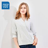 [秒杀价:72.7元,狂欢返场/仅限12.13-16]真维斯女装 2019秋装新款 全棉条子布短袖衬衫