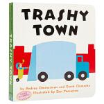【中商原版】垃圾镇 英文原版 Trashy Town 纸板书 儿童故事韵文绘本 亲子绘本 2-6岁