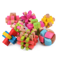 榉木彩色孔明鲁班锁儿童礼物老少皆宜解套解锁8件