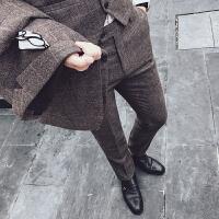 2018春秋新款发型师潮男小脚西裤绅士休闲男士格子西装裤