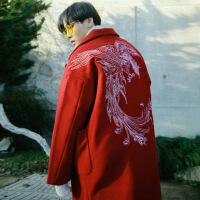 冬季韩版中长款毛呢大衣男宽松情侣过膝呢子风衣刺绣呢外套加厚潮