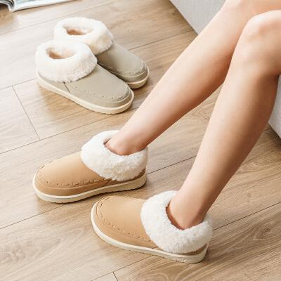 拖鞋冬室内家用包跟厚底情侣毛绒保暖防水家居拖鞋女冬季棉拖鞋男