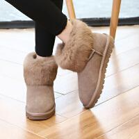 ZHR2017冬季新款兔毛雪地靴加绒短靴平底短筒棉鞋学生真皮女靴子P35