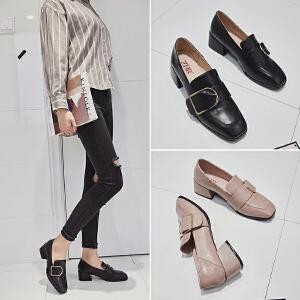 ZHR2018春季新款软妹小皮鞋乐福鞋粗跟鞋子单鞋休闲鞋英伦风女鞋F88