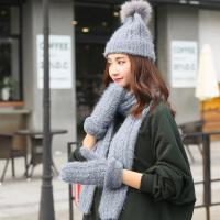韩版冬季针织三件套女可爱学生毛绒毛线围巾帽子手套一体礼盒套装