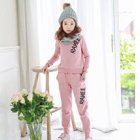 新品女童运动套装韩版童装秋冬加绒加厚卫衣+长裤2件套