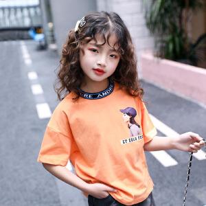 乌龟先森 儿童T恤 女童T恤中大童儿童韩版夏季新款绣花撞色卡通小猫图案童装短袖